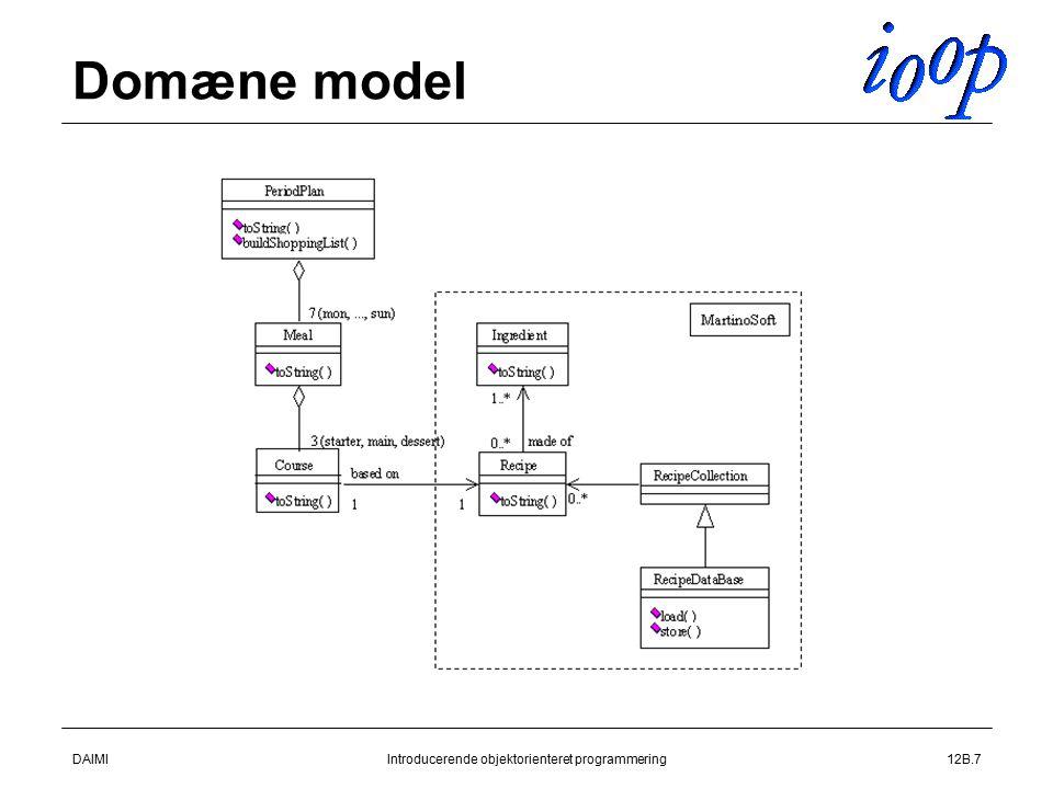DAIMIIntroducerende objektorienteret programmering12B.7 Domæne model