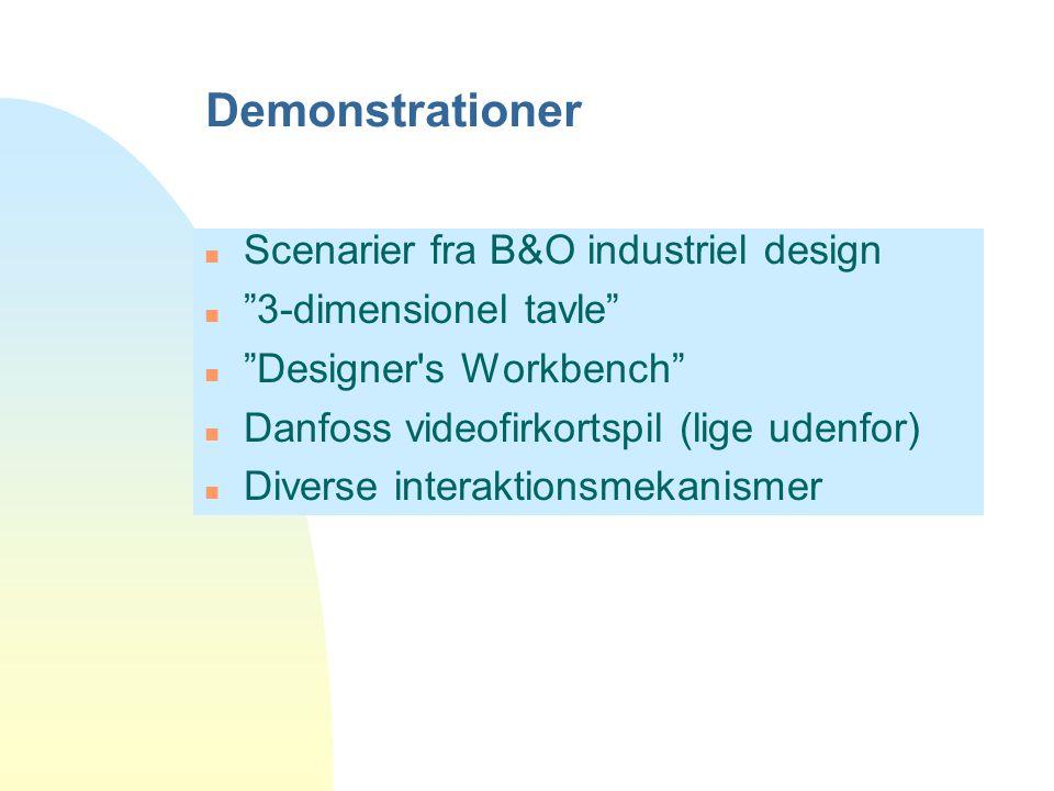 Demonstrationer n Scenarier fra B&O industriel design n 3-dimensionel tavle n Designer s Workbench n Danfoss videofirkortspil (lige udenfor) n Diverse interaktionsmekanismer