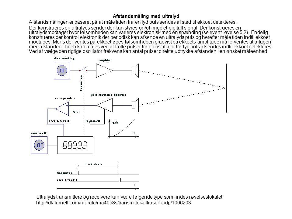 Afstandsmåling med ultralyd Afstandsmålingen er baseret på at måle tiden fra en lyd puls sendes af sted til ekkoet detekteres.