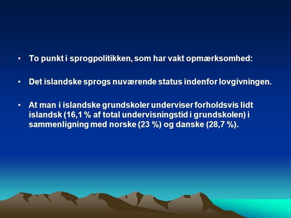 To punkt i sprogpolitikken, som har vakt opmærksomhed: Det islandske sprogs nuværende status indenfor lovgivningen.
