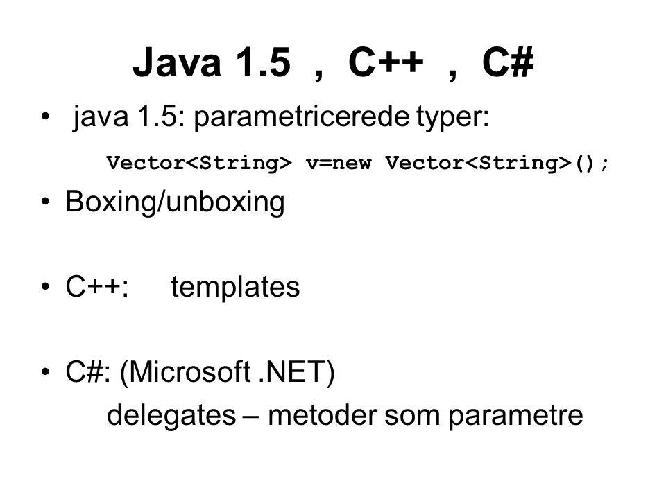 Java 1.5, C++, C# java 1.5: parametricerede typer: Vector v=new Vector (); Boxing/unboxing C++: templates C#: (Microsoft.NET) delegates – metoder som parametre