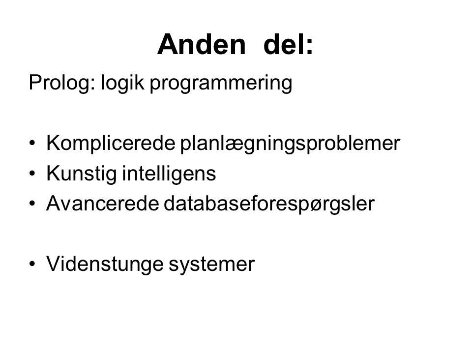 Anden del: Prolog: logik programmering Komplicerede planlægningsproblemer Kunstig intelligens Avancerede databaseforespørgsler Videnstunge systemer
