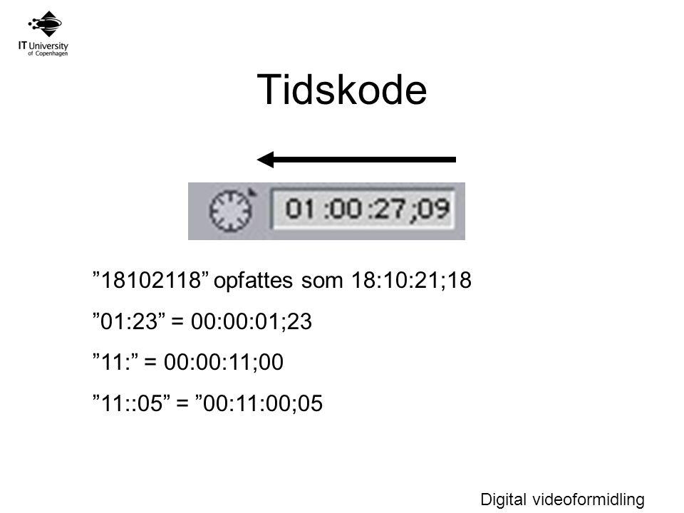 Digital videoformidling Tidskode 18102118 opfattes som 18:10:21;18 01:23 = 00:00:01;23 11: = 00:00:11;00 11::05 = 00:11:00;05