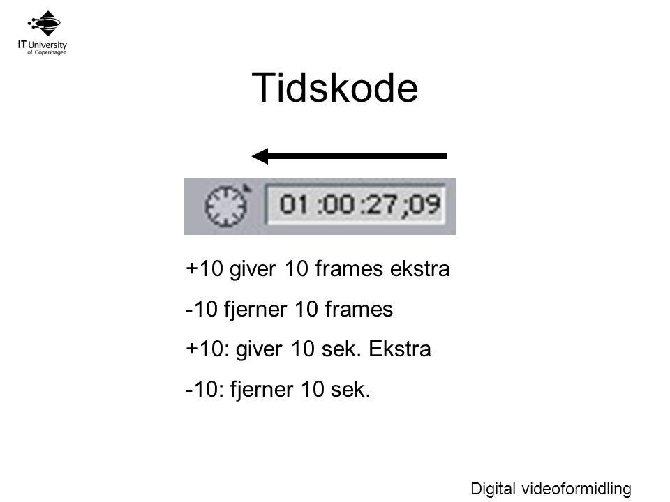 Digital videoformidling Tidskode +10 giver 10 frames ekstra -10 fjerner 10 frames +10: giver 10 sek.