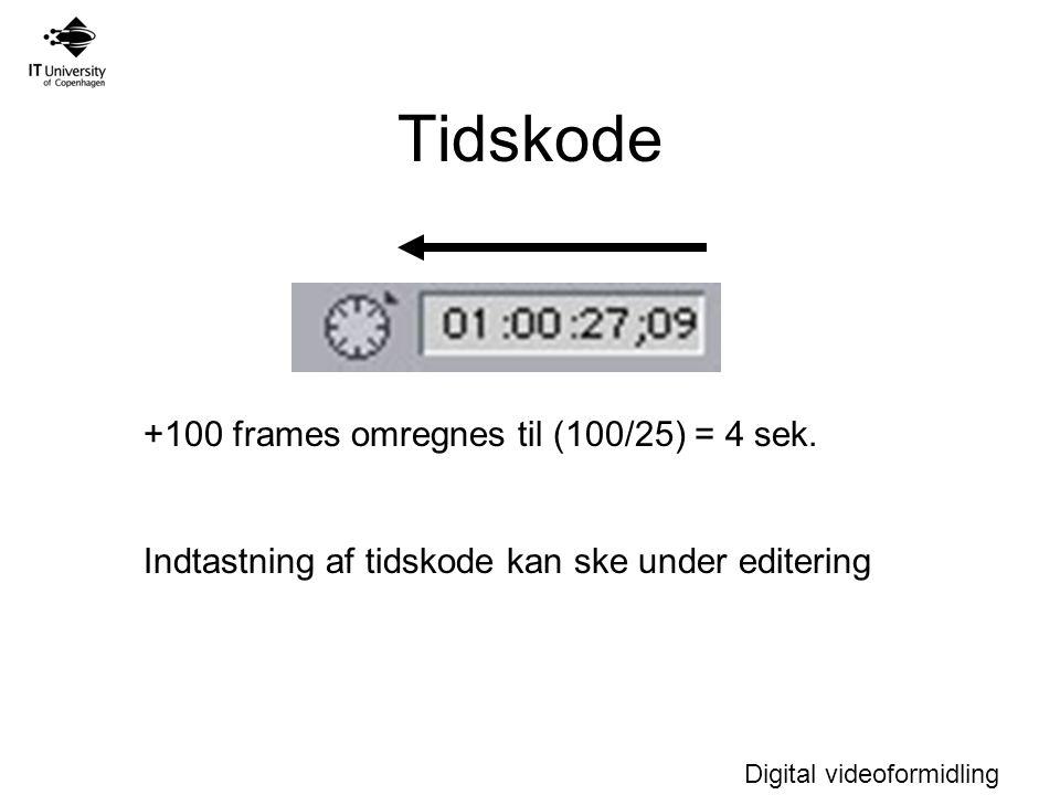 Digital videoformidling Tidskode +100 frames omregnes til (100/25) = 4 sek.