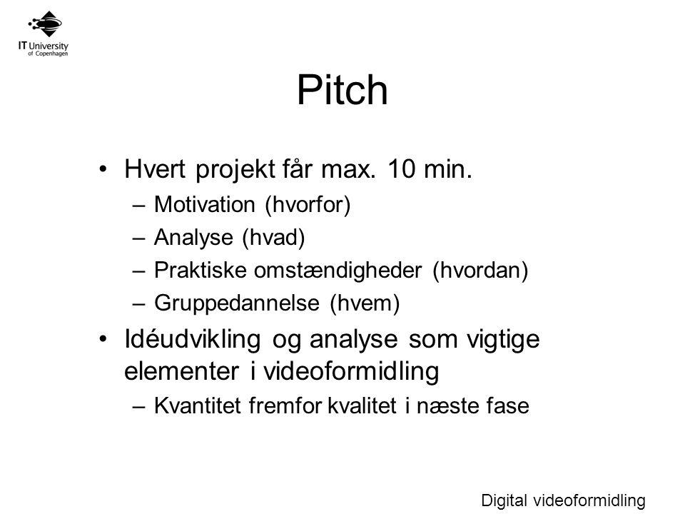 Digital videoformidling Pitch Hvert projekt får max.