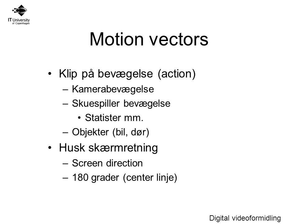 Digital videoformidling Motion vectors Klip på bevægelse (action) –Kamerabevægelse –Skuespiller bevægelse Statister mm.