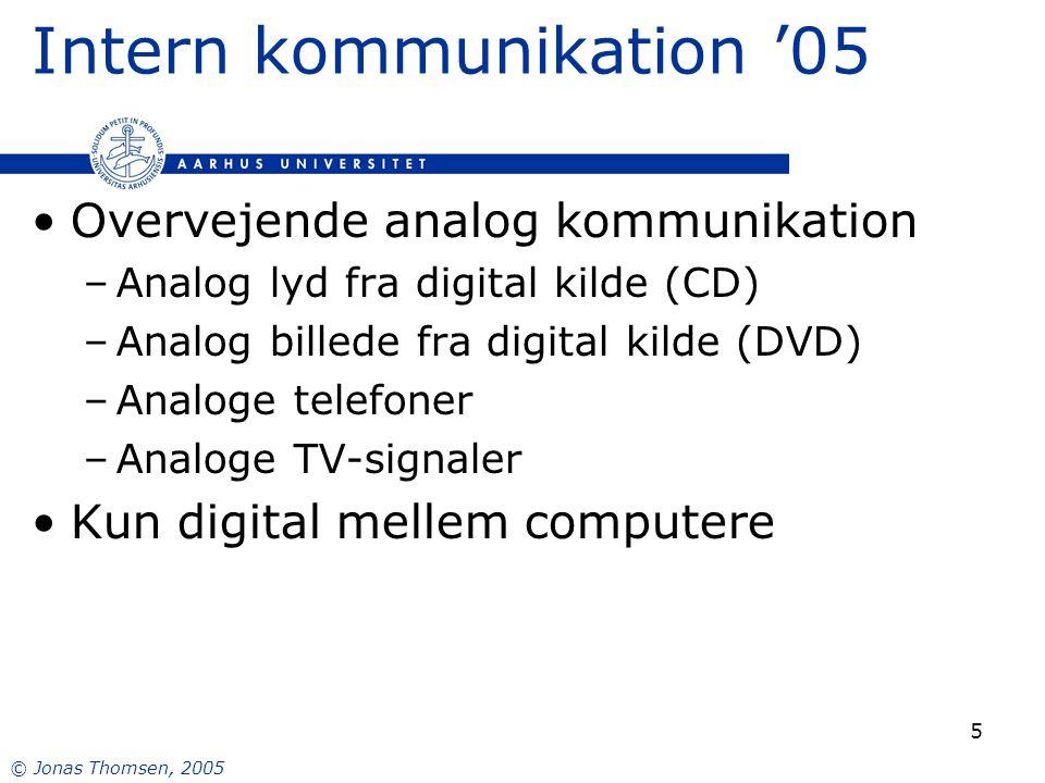 © Jonas Thomsen, 2005 5 Intern kommunikation '05 Overvejende analog kommunikation –Analog lyd fra digital kilde (CD) –Analog billede fra digital kilde (DVD) –Analoge telefoner –Analoge TV-signaler Kun digital mellem computere