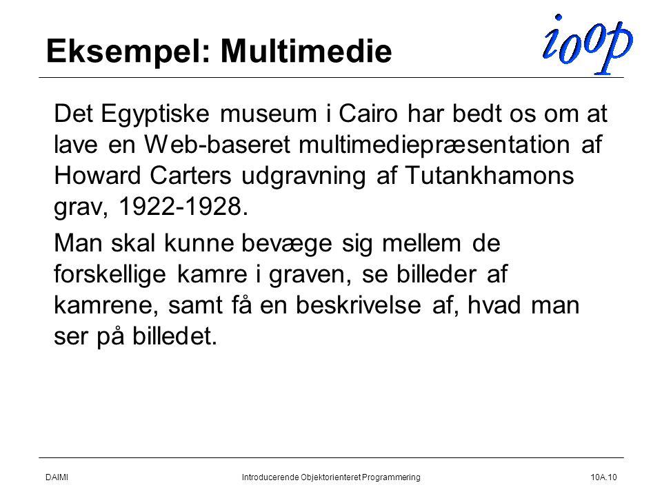 DAIMIIntroducerende Objektorienteret Programmering10A.10 Eksempel: Multimedie  Det Egyptiske museum i Cairo har bedt os om at lave en Web-baseret multimediepræsentation af Howard Carters udgravning af Tutankhamons grav, 1922-1928.