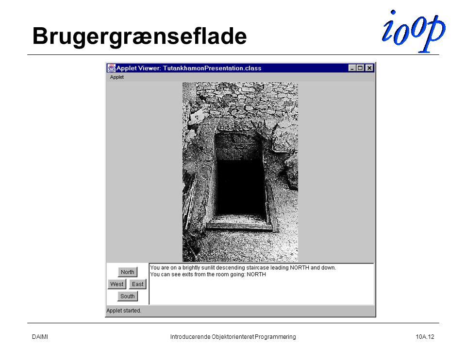 DAIMIIntroducerende Objektorienteret Programmering10A.12 Brugergrænseflade