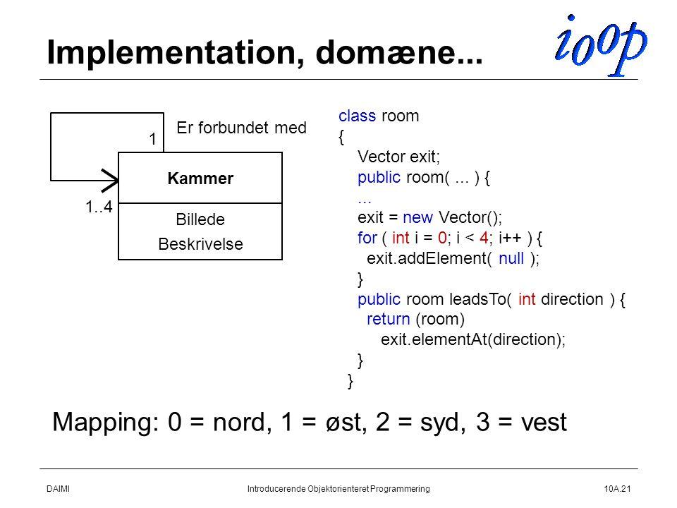 DAIMIIntroducerende Objektorienteret Programmering10A.21 Implementation, domæne...