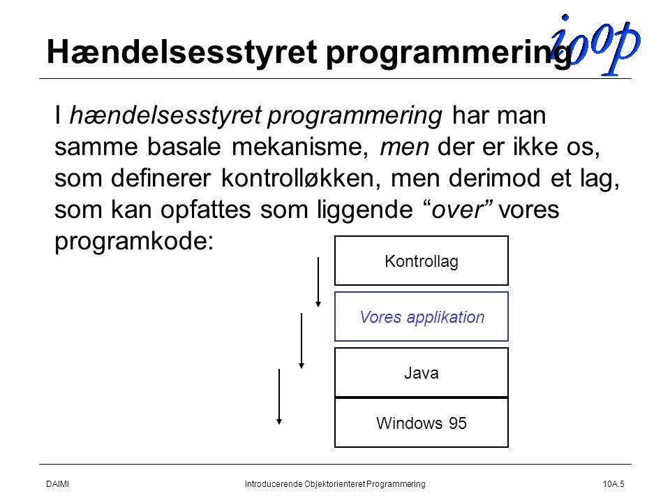 DAIMIIntroducerende Objektorienteret Programmering10A.5 Hændelsesstyret programmering  I hændelsesstyret programmering har man samme basale mekanisme, men der er ikke os, som definerer kontrolløkken, men derimod et lag, som kan opfattes som liggende over vores programkode: Windows 95 Java Vores applikation Kontrollag