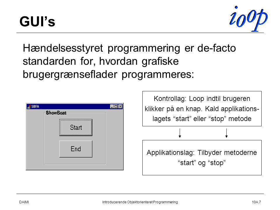 DAIMIIntroducerende Objektorienteret Programmering10A.7 GUI's  Hændelsesstyret programmering er de-facto standarden for, hvordan grafiske brugergrænseflader programmeres: Kontrollag: Loop indtil brugeren klikker på en knap.