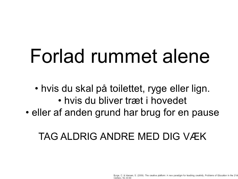 Forlad rummet alene Byrge, C. & Hansen, S. (2009).
