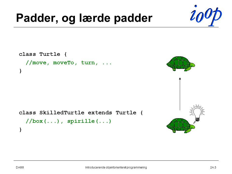 DAIMIIntroducerende objektorienteret programmering2A.5 Padder, og lærde padder  class Turtle {  //move, moveTo, turn,...