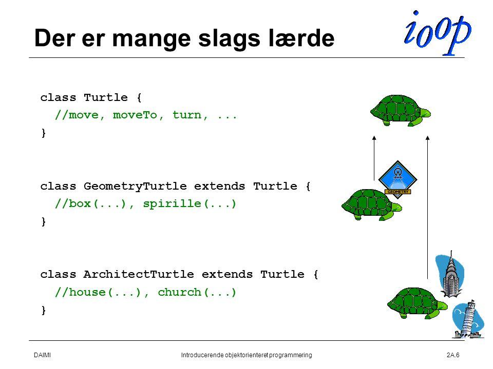 DAIMIIntroducerende objektorienteret programmering2A.6 Der er mange slags lærde  class Turtle {  //move, moveTo, turn,...