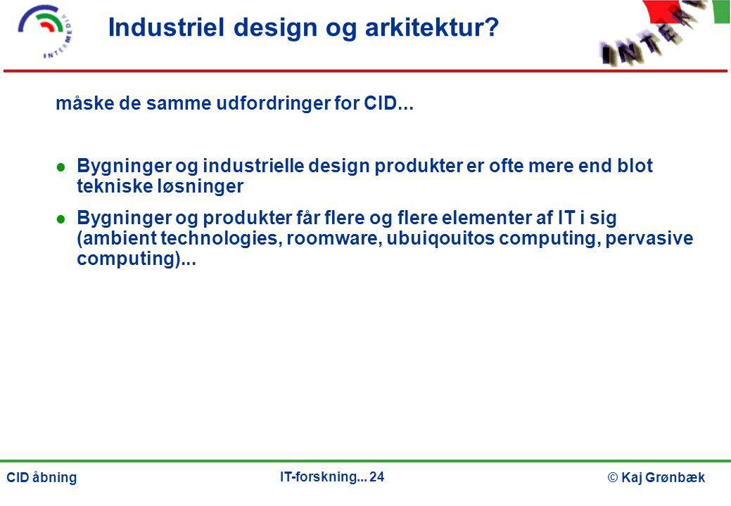 IT-forskning... 24 © Kaj GrønbækCID åbning Industriel design og arkitektur.