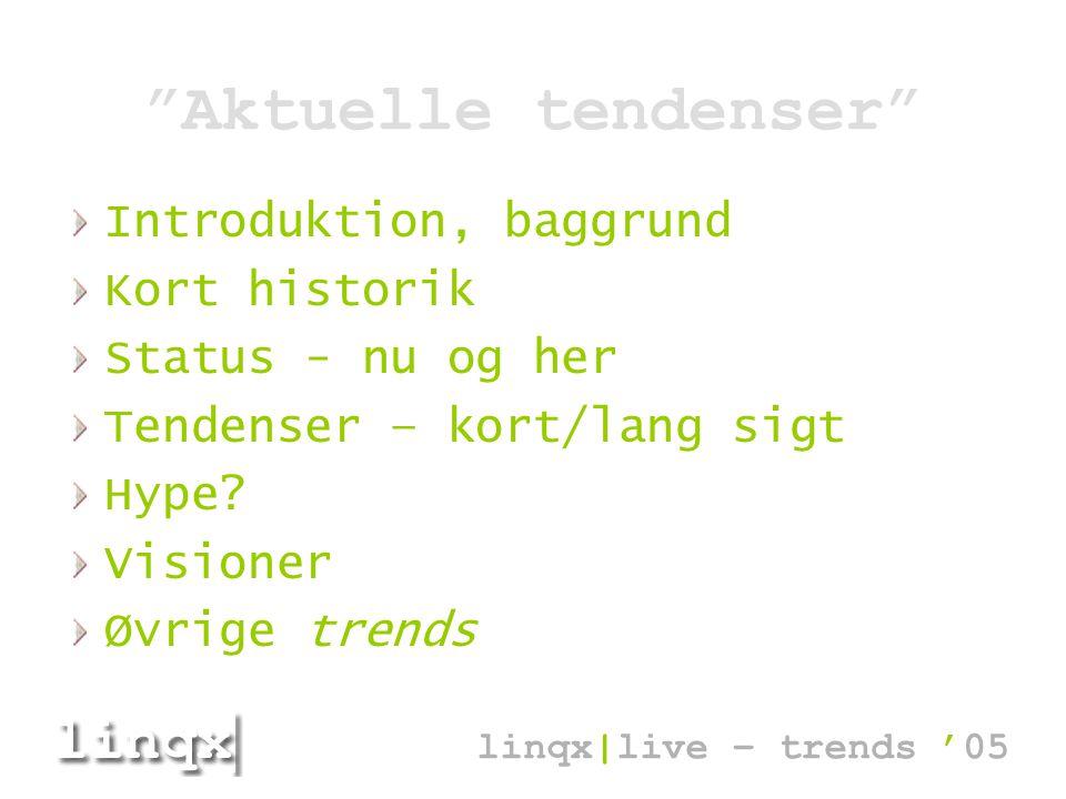 Aktuelle tendenser Introduktion, baggrund Kort historik Status - nu og her Tendenser – kort/lang sigt Hype.