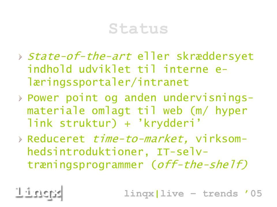 Status State-of-the-art eller skræddersyet indhold udviklet til interne e- læringssportaler/intranet Power point og anden undervisnings- materiale omlagt til web (m/ hyper link struktur) + 'krydderi' Reduceret time-to-market, virksom- hedsintroduktioner, IT-selv- træningsprogrammer (off-the-shelf) linqx|live – trends '05
