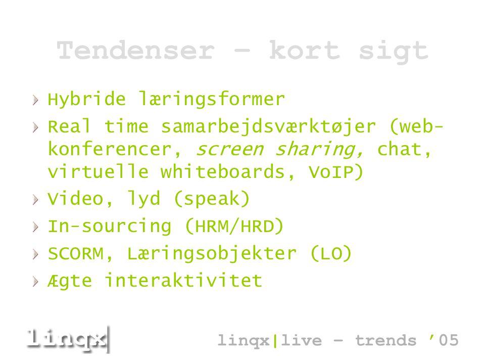 Tendenser – kort sigt Hybride læringsformer Real time samarbejdsværktøjer (web- konferencer, screen sharing, chat, virtuelle whiteboards, VoIP) Video, lyd (speak) In-sourcing (HRM/HRD) SCORM, Læringsobjekter (LO) Ægte interaktivitet linqx|live – trends '05
