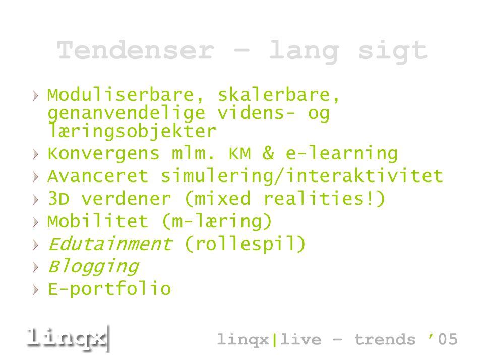 Tendenser – lang sigt Moduliserbare, skalerbare, genanvendelige videns- og læringsobjekter Konvergens mlm.