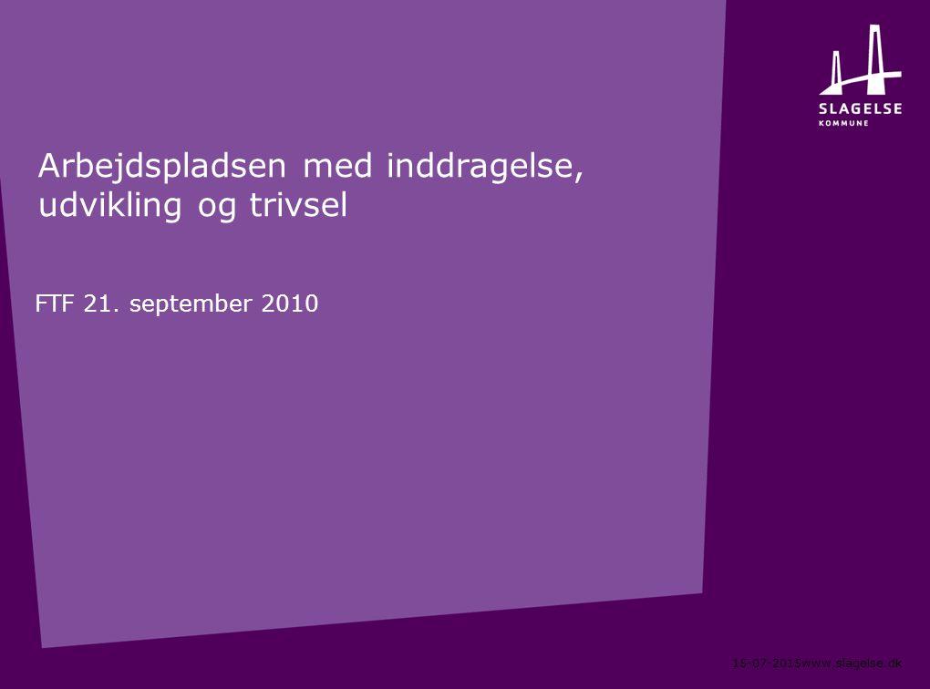 15-07-2015www.slagelse.dk Arbejdspladsen med inddragelse, udvikling og trivsel FTF 21.