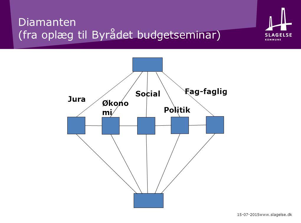 Diamanten (fra oplæg til Byrådet budgetseminar) 15-07-2015www.slagelse.dk Jura Økono mi Social Politik Fag-faglig