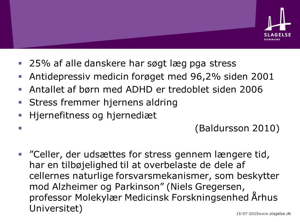  25% af alle danskere har søgt læg pga stress  Antidepressiv medicin forøget med 96,2% siden 2001  Antallet af børn med ADHD er tredoblet siden 2006  Stress fremmer hjernens aldring  Hjernefitness og hjernediæt  (Baldursson 2010)  Celler, der udsættes for stress gennem længere tid, har en tilbøjelighed til at overbelaste de dele af cellernes naturlige forsvarsmekanismer, som beskytter mod Alzheimer og Parkinson (Niels Gregersen, professor Molekylær Medicinsk Forskningsenhed Århus Universitet) 15-07-2015www.slagelse.dk
