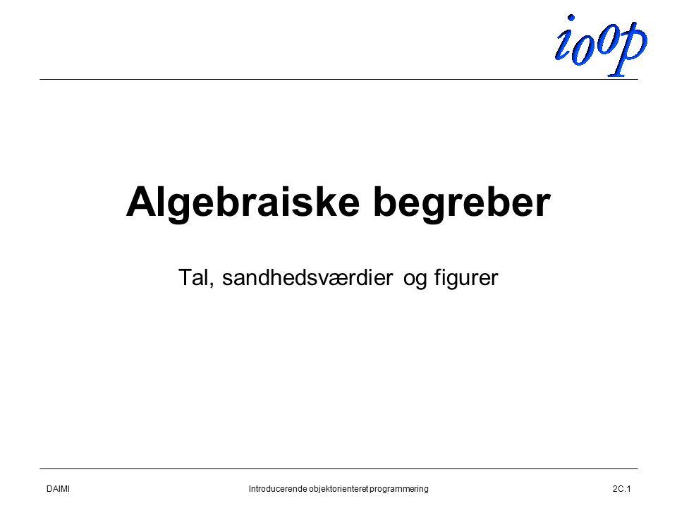 DAIMIIntroducerende objektorienteret programmering2C.1 Algebraiske begreber Tal, sandhedsværdier og figurer