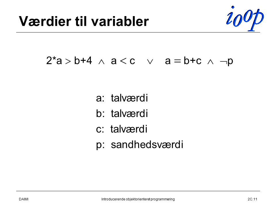 DAIMIIntroducerende objektorienteret programmering2C.11 Værdier til variabler  2*a  b+4  a  c  a  b+c   p  a: talværdi  b: talværdi  c: talværdi  p: sandhedsværdi