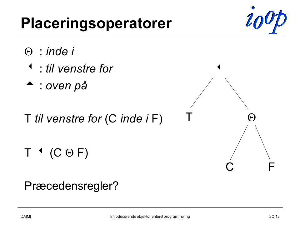 DAIMIIntroducerende objektorienteret programmering2C.12 Placeringsoperatorer  : inde i   : til venstre for   : oven på  T til venstre for (C inde i F)  T  (C  F)  Præcedensregler.