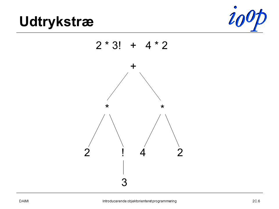 DAIMIIntroducerende objektorienteret programmering2C.6 Udtrykstræ + * * 42 2 * 3! + 4 * 2 2! 3