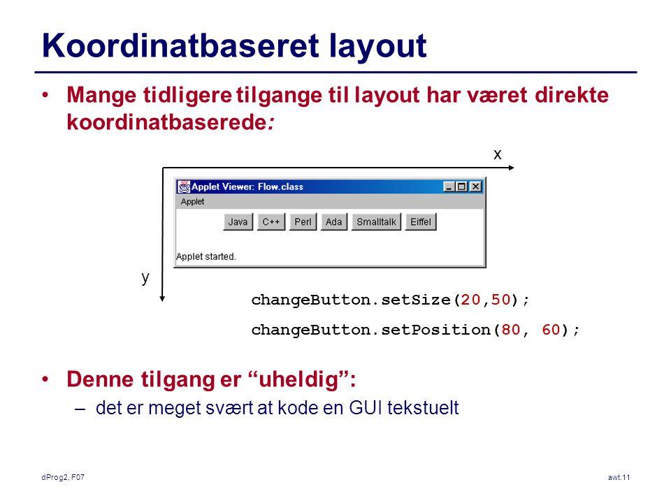 dProg2, F07awt.11 Koordinatbaseret layout Mange tidligere tilgange til layout har været direkte koordinatbaserede: Denne tilgang er uheldig : –det er meget svært at kode en GUI tekstuelt x y changeButton.setSize(20,50); changeButton.setPosition(80, 60);