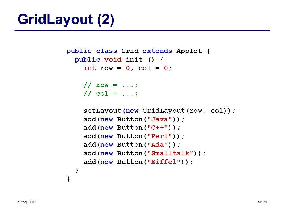 dProg2, F07awt.20 GridLayout (2) public class Grid extends Applet { public void init () { int row = 0, col = 0; // row =...; // col =...; setLayout(new GridLayout(row, col)); add(new Button( Java )); add(new Button( C++ )); add(new Button( Perl )); add(new Button( Ada )); add(new Button( Smalltalk )); add(new Button( Eiffel )); }