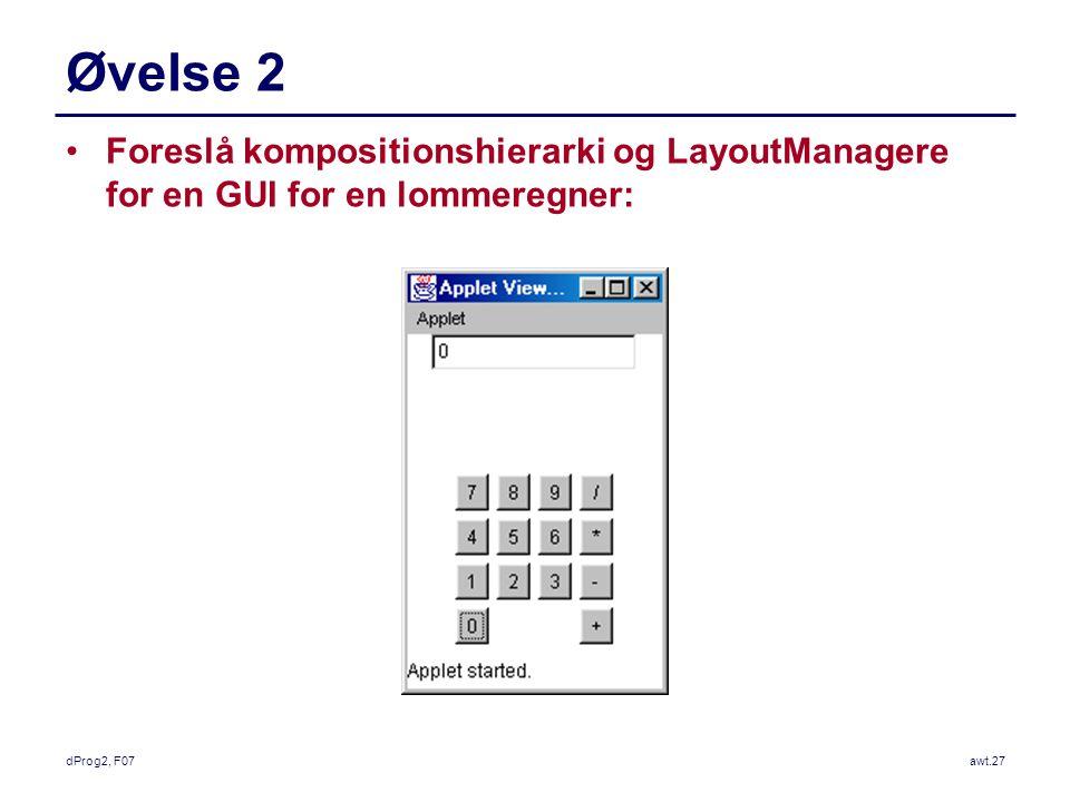 dProg2, F07awt.27 Øvelse 2 Foreslå kompositionshierarki og LayoutManagere for en GUI for en lommeregner: