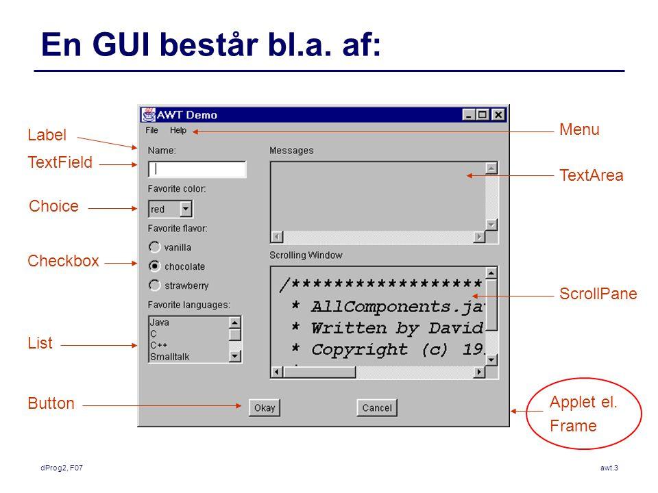 dProg2, F07awt.3 En GUI består bl.a.