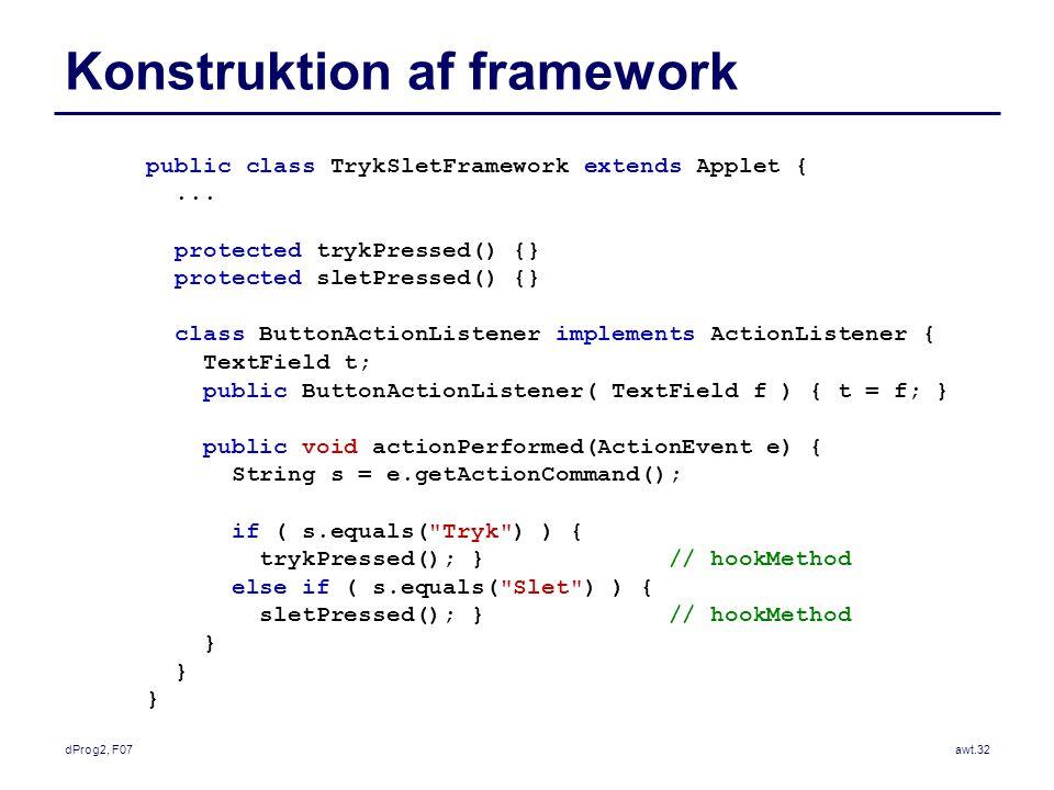 dProg2, F07awt.32 Konstruktion af framework public class TrykSletFramework extends Applet {...