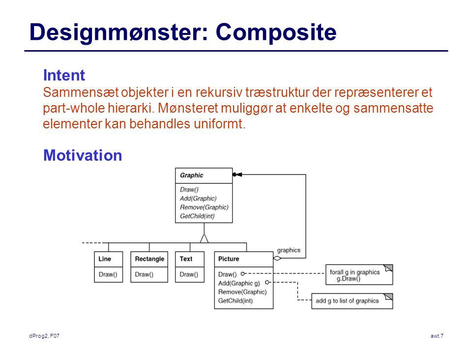 dProg2, F07awt.7 Designmønster: Composite Intent Sammensæt objekter i en rekursiv træstruktur der repræsenterer et part-whole hierarki.