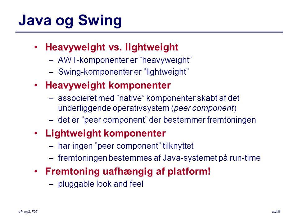 dProg2, F07awt.9 Java og Swing Heavyweight vs.