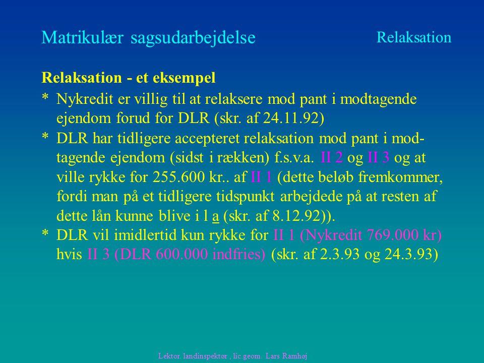 Matrikulær sagsudarbejdelse Relaksation Relaksation - et eksempel Lektor.