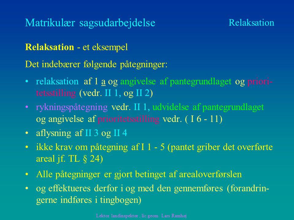 Matrikulær sagsudarbejdelse relaksation af 1 a og angivelse af pantegrundlaget og priori- tetsstilling (vedr.