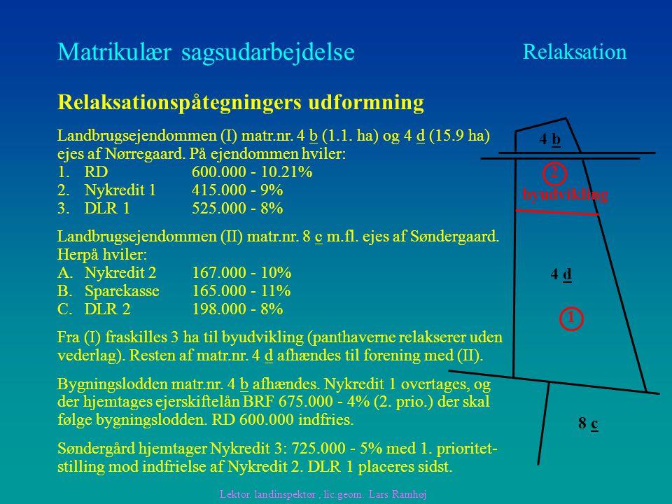 Matrikulær sagsudarbejdelse Relaksation Relaksationspåtegningers udformning Landbrugsejendommen (I) matr.nr.