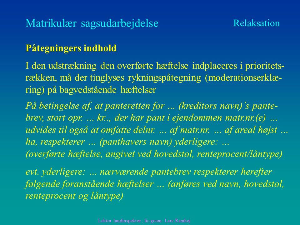 Matrikulær sagsudarbejdelse Relaksation Påtegningers indhold På betingelse af, at panteretten for … (kreditors navn)´s pante- brev, stort opr.