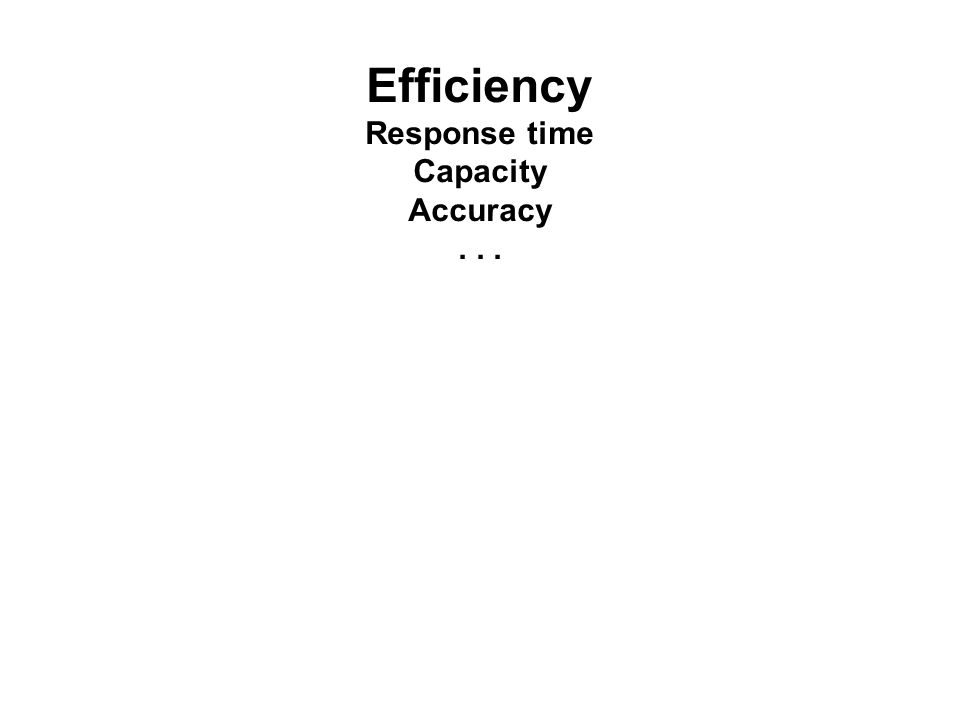 Efficiency Response time Capacity Accuracy...