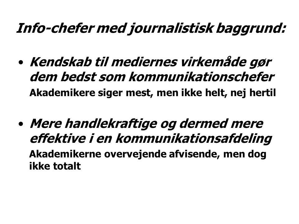 Info-chefer med journalistisk baggrund: Kendskab til mediernes virkemåde gør dem bedst som kommunikationschefer Akademikere siger mest, men ikke helt, nej hertil Mere handlekraftige og dermed mere effektive i en kommunikationsafdeling Akademikerne overvejende afvisende, men dog ikke totalt
