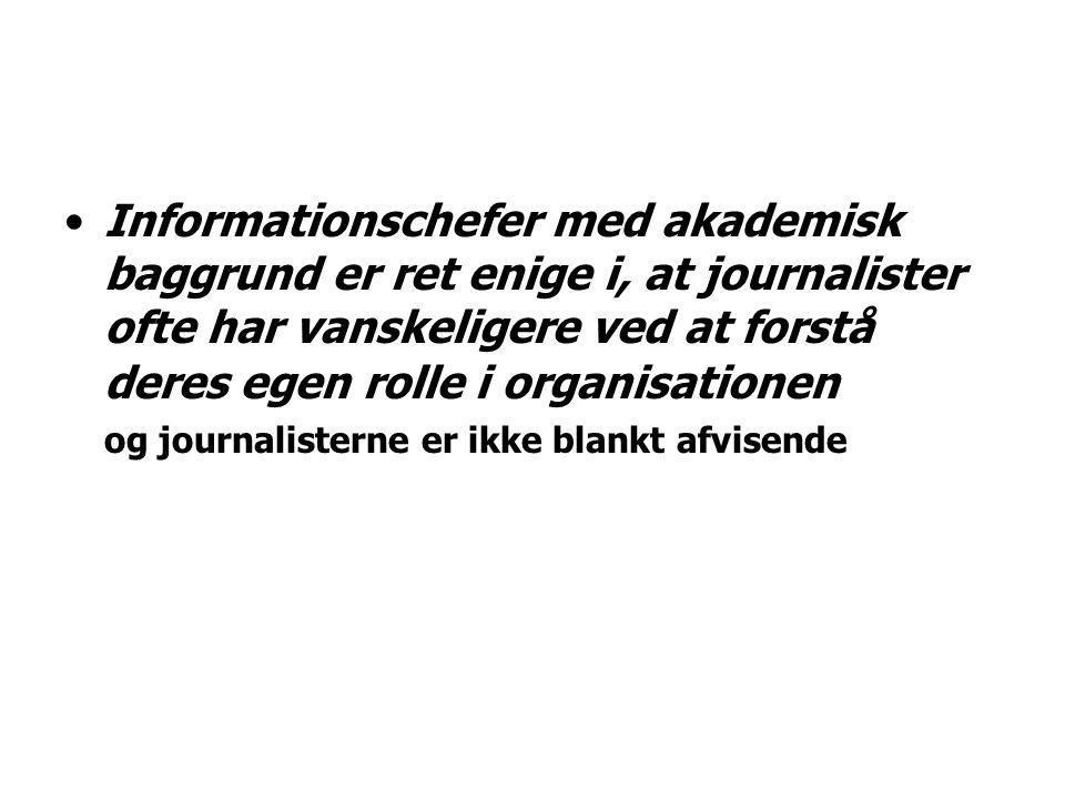 Informationschefer med akademisk baggrund er ret enige i, at journalister ofte har vanskeligere ved at forstå deres egen rolle i organisationen og journalisterne er ikke blankt afvisende