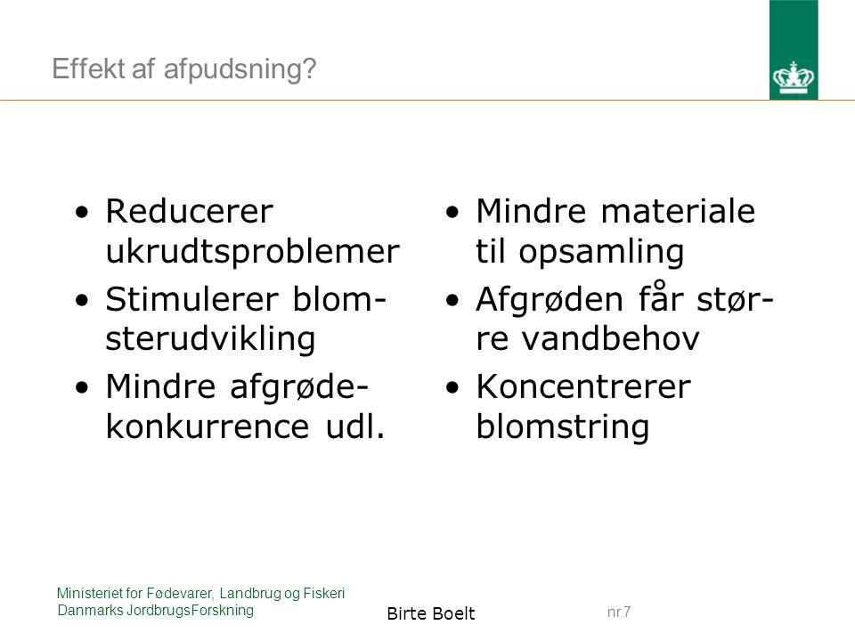 nr.7 Ministeriet for Fødevarer, Landbrug og Fiskeri Danmarks JordbrugsForskning Birte Boelt Effekt af afpudsning.