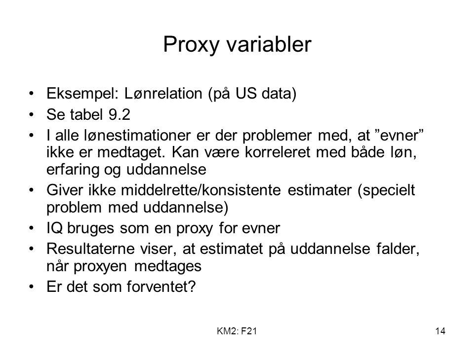 KM2: F2114 Proxy variabler Eksempel: Lønrelation (på US data) Se tabel 9.2 I alle lønestimationer er der problemer med, at evner ikke er medtaget.