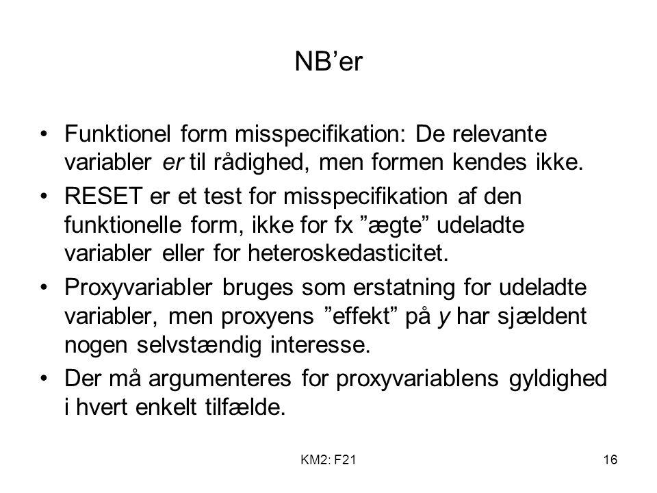 KM2: F2116 NB'er Funktionel form misspecifikation: De relevante variabler er til rådighed, men formen kendes ikke.
