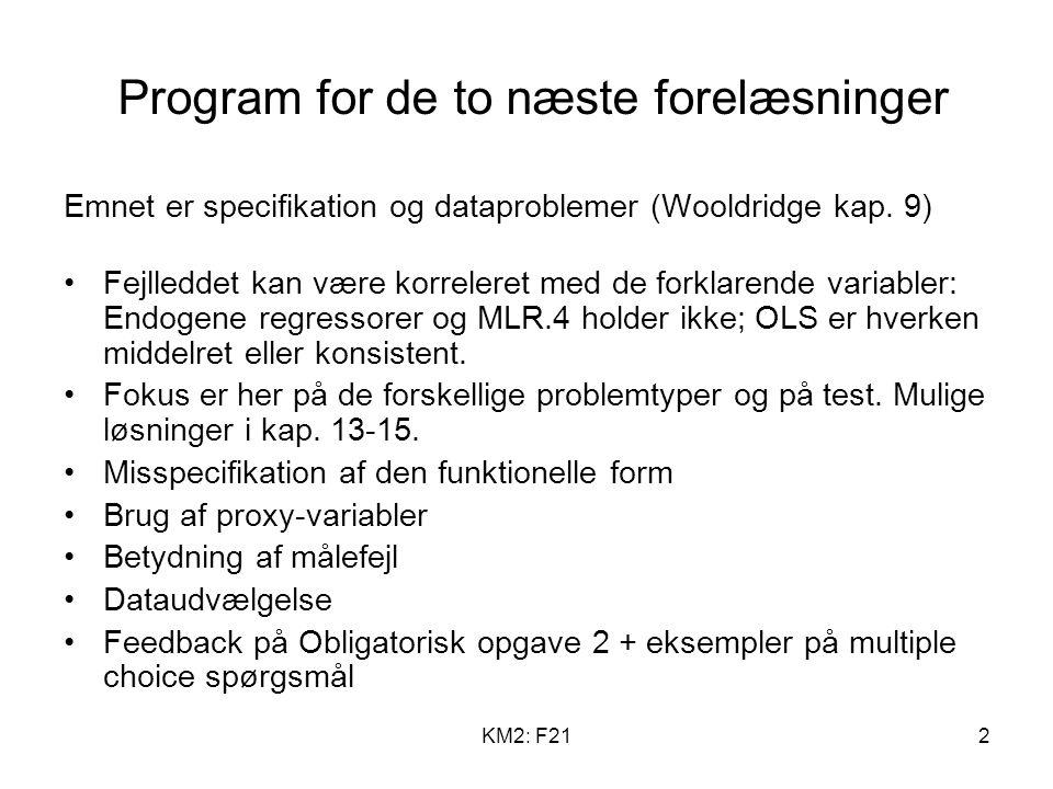 KM2: F212 Program for de to næste forelæsninger Emnet er specifikation og dataproblemer (Wooldridge kap.